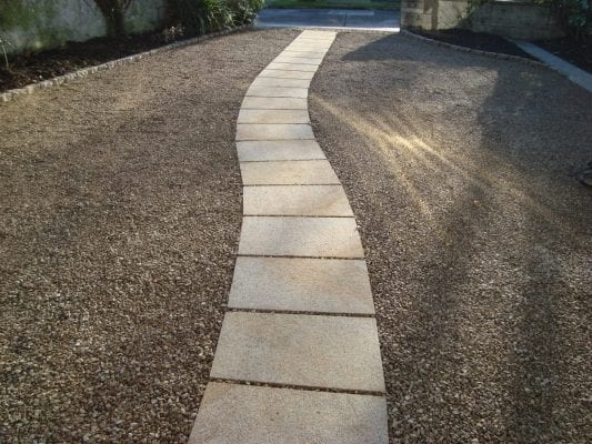 Gravel Driveway with Paved Curved Path