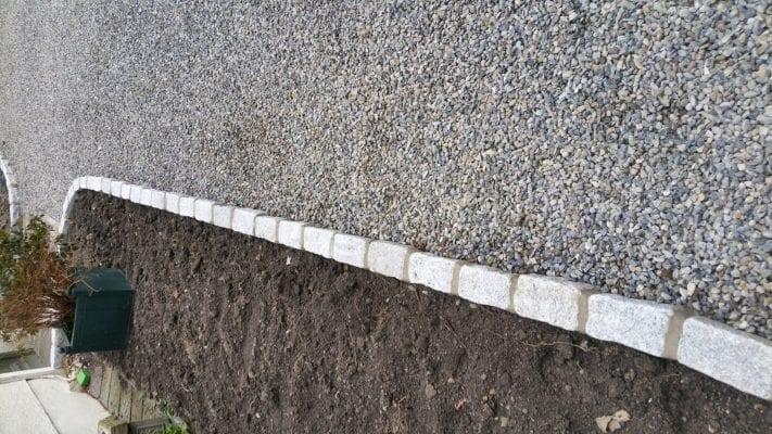 Gravel with brick border
